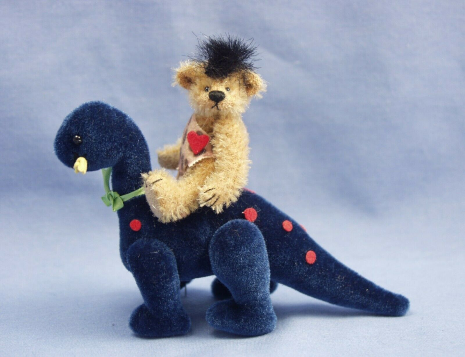 DEB CANHAM   ZONK AND BC  MINIATURE MOHAIR CAVEMAN BEAR RIDING A DINOSAUR-3 3 4