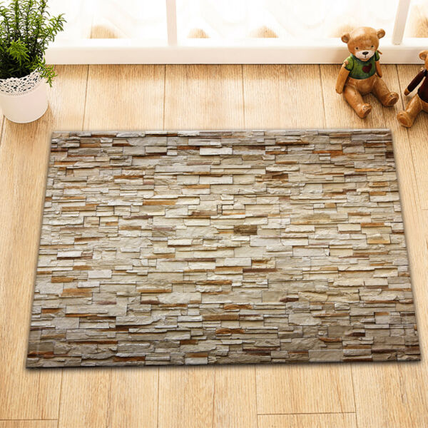 Vintage 3D Brick Wall Shower Curtain Liner Bathroom Waterproof Fabric Mat Hooks Hover To Zoom