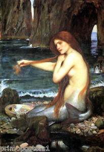 Waterhouse Mermaid Baltic Sea Combing Hair Painting Large Real Canvas Art Print