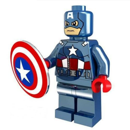 CHROME CAPTAIN AMERICA AVENGER MARVEL FIGURE MINI PLAY WITH LEGOS USA SELLER NIP