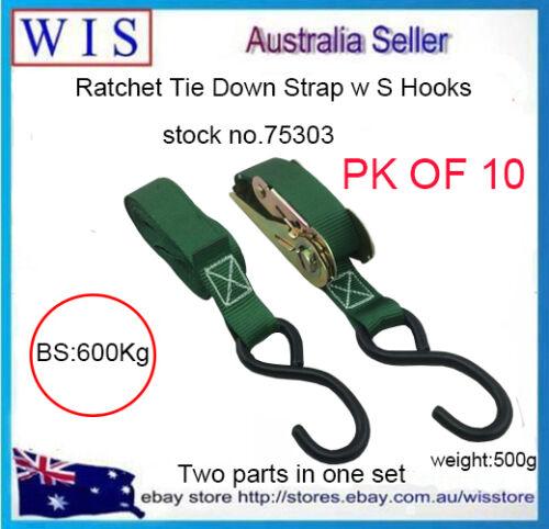 10//PK 25mm x 4.5m 600Kg LC Ratchet Tie Down Straps w S Hooks,Green-75203