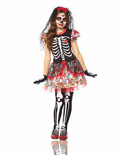 Day Of The Dead Sugar Skeleton Flower Dress Girls Halloween Costume  sc 1 st  eBay & Kids Day of The Dead Girl Halloween Costume L | eBay
