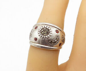 925-Sterling-Silver-Vintage-Red-Topaz-amp-Marcasite-Band-Ring-Sz-6-R16586