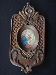 Superbe-cadre-bois-sculpte-gravure-rehaussee-jesus-Antique-frame-wooden-XIX