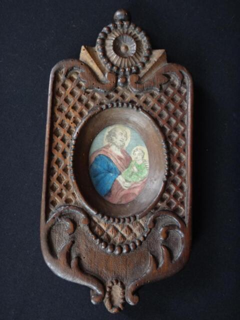 Superbe cadre bois sculpté gravure réhaussée jésus Antique frame wooden XIX