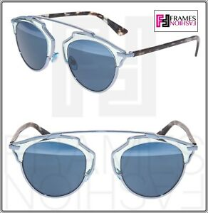 8f9cdca51cea73 CHRISTIAN DIOR SO REAL SIlver Blue Havana Metal Mirrored Sunglasses ...