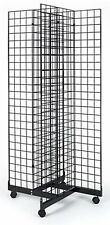 2 X 5 Grid Panel 4 Sided Floorstanding Display Fixture With Rolling Base