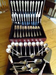 WALLACE-ROSE-POINT-STERLING-SILVER-FLATWARE-SET-S-12-SERVERS-PERFECT-MINT-LOT-B