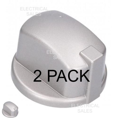 FITS HOTPOINT INDESIT OVEN COOKER KNOB GAS SWITCH SILVER INOX C00284958 2 PACK