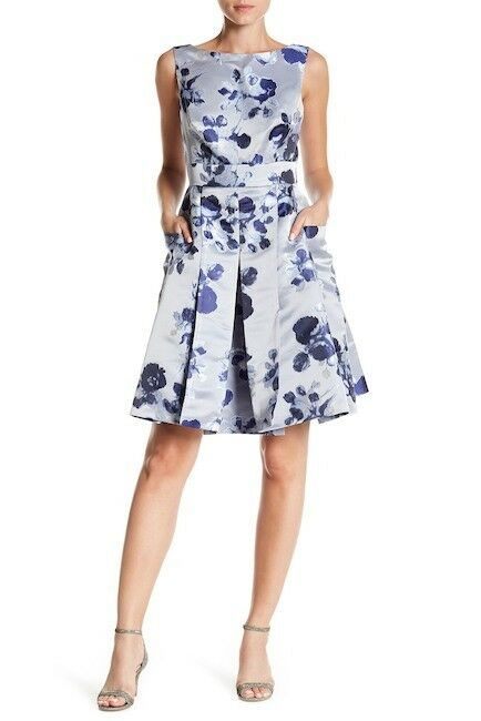 Eliza J Metallic Jacquard Sleeveless Fit & Flare Dress (Größe 12)