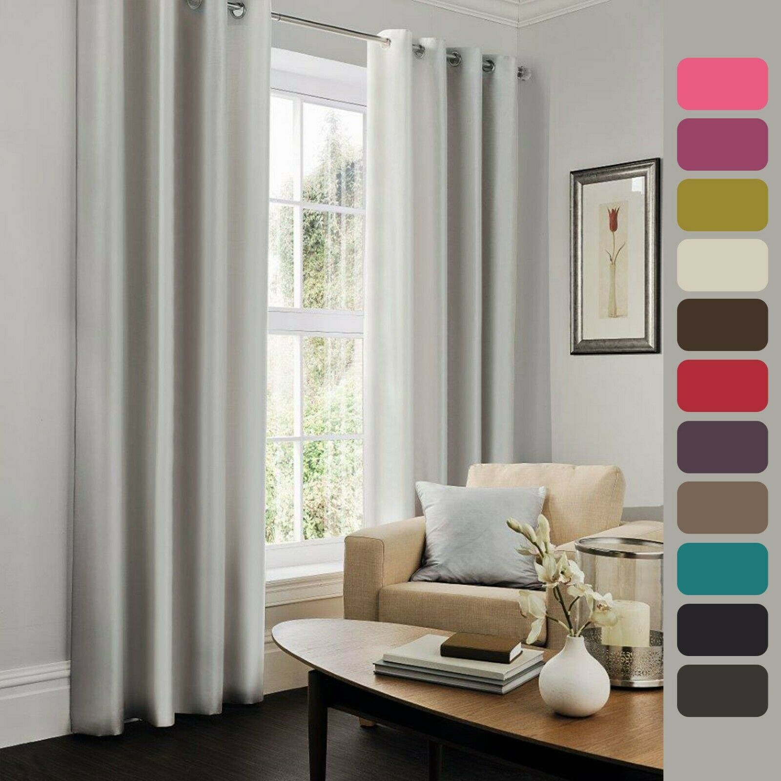 Details About Luxury Curtains Living Room Bedroom All Size Plain Faux Silk Eyelet Door