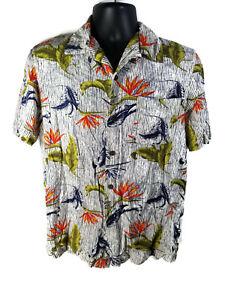 George-Mens-Hawaiian-Shirt-Blue-White-Striped-Tropical-Leaves-M