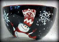 16 Oz. happy Hats Cereal Bowl - Snowman & Snowflakes On Black