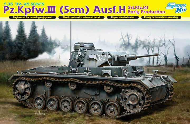 Dragon 1 3 5 6641 Solid pz.kpfw.iii (5cm) H, sd.kfz.141, Early Production
