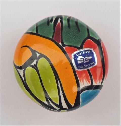 "MEXICAN GLAZED POTTERY CABINET DRAWER PULL TALAVERA CERAMIC ROUND KNOB 2/"" DIA."