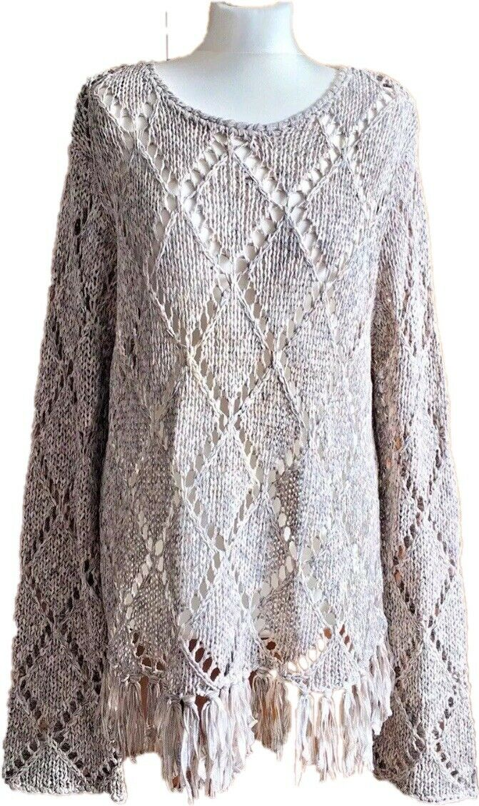 Falmer Heritage Beige Autumn Diamond Loose Knit Lagenlook Jumper Sweater