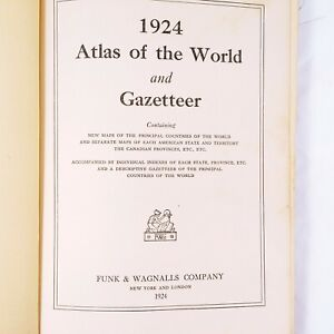 1924-Atlas-Of-The-World-And-Gazetteer-Funk-And-Wagnalls-Vintage-Antiques