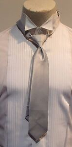"Men's Cardi Collection ""Silver"" Satin Formal Bowtie and Long Tie"