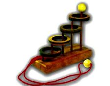 Four ring string puzzle wooden game Brain Teasers
