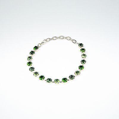 Damen Armband Tennis 925 Silber Versilbert mit Swarovski Kristallen Grün