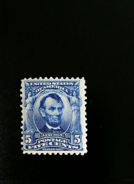 1902 5c Abraham Lincoln, Blue Scott 304 Mint F/VF Hinge