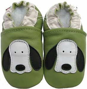 carozoo dog long ear brown 0-6m soft sole leather baby shoes