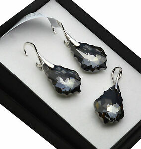 ff2dec02c Image is loading 925-Silver-Earrings-Set-made-with-Swarovski-Crystals-