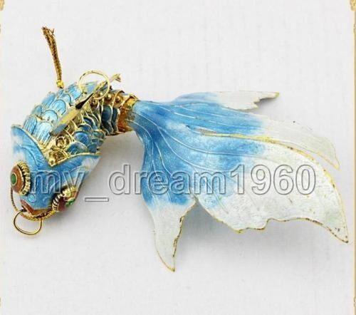 SKY BLUE Chinese Cloisonne Enamel Fish Christmas Straps Ornament Charms Pendant
