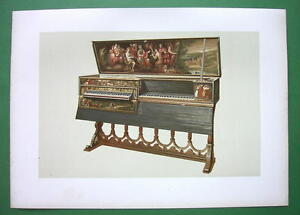 VIRGINAL-or-Double-Spinet-SUPERB-Color-Litho-Print