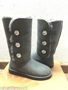 3f6601ea544 Details about UGG EXCLUSIVE BAILEY BUTTON BLING CHARCOAL TRIPLET TALL BOOT  US 7 /EU 38 / UK5.5