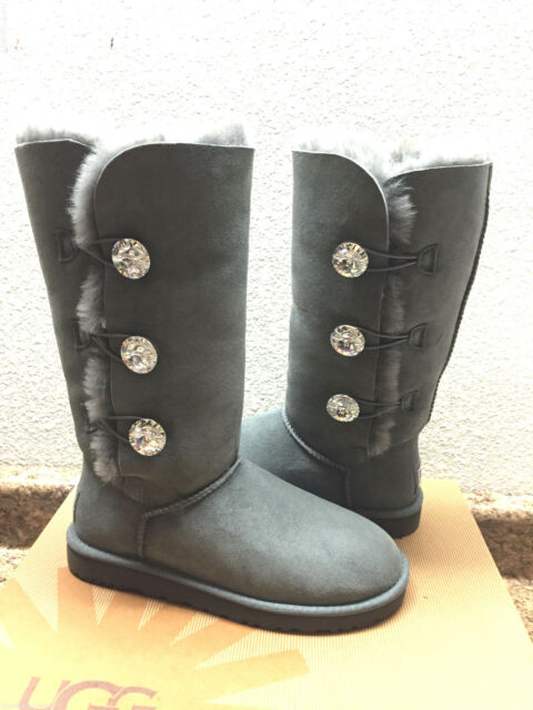 1bda6ee7c812e UGG EXCLUSIVE BAILEY BUTTON BLING CHARCOAL TRIPLET TALL BOOT US 7  EU 38    UK5
