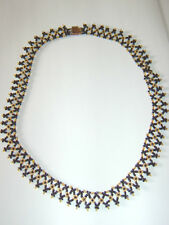 Stunning Vintage Black & Gold Seed Bead Dress Collar Necklace Deco Flapper Style