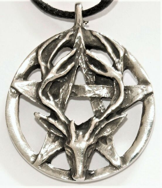 Solid Pewter Wiccan Stag Pendant - Wicca / Pagan Jewellery