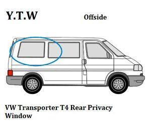 Vw T4 Transporter Side Sliding Window Privacy Glass Offside Right 1990-2003