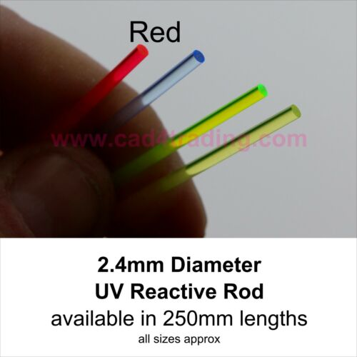 UV Reactive Light emitting Acrylic Perspex Rods Glow in Blacklight 2.4mm 1//4m