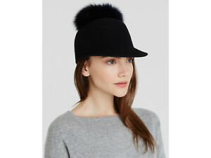 Helene Berman Women s Black Fox Fur Pom Pom Cap   Riding Hat BNWOT ... 6d035aecc4