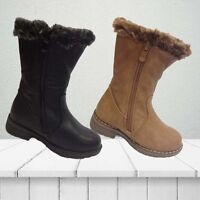 Kids Girls New Children Infants Warm Winter Ankle Boots Snow Boot Shoes Zip Size