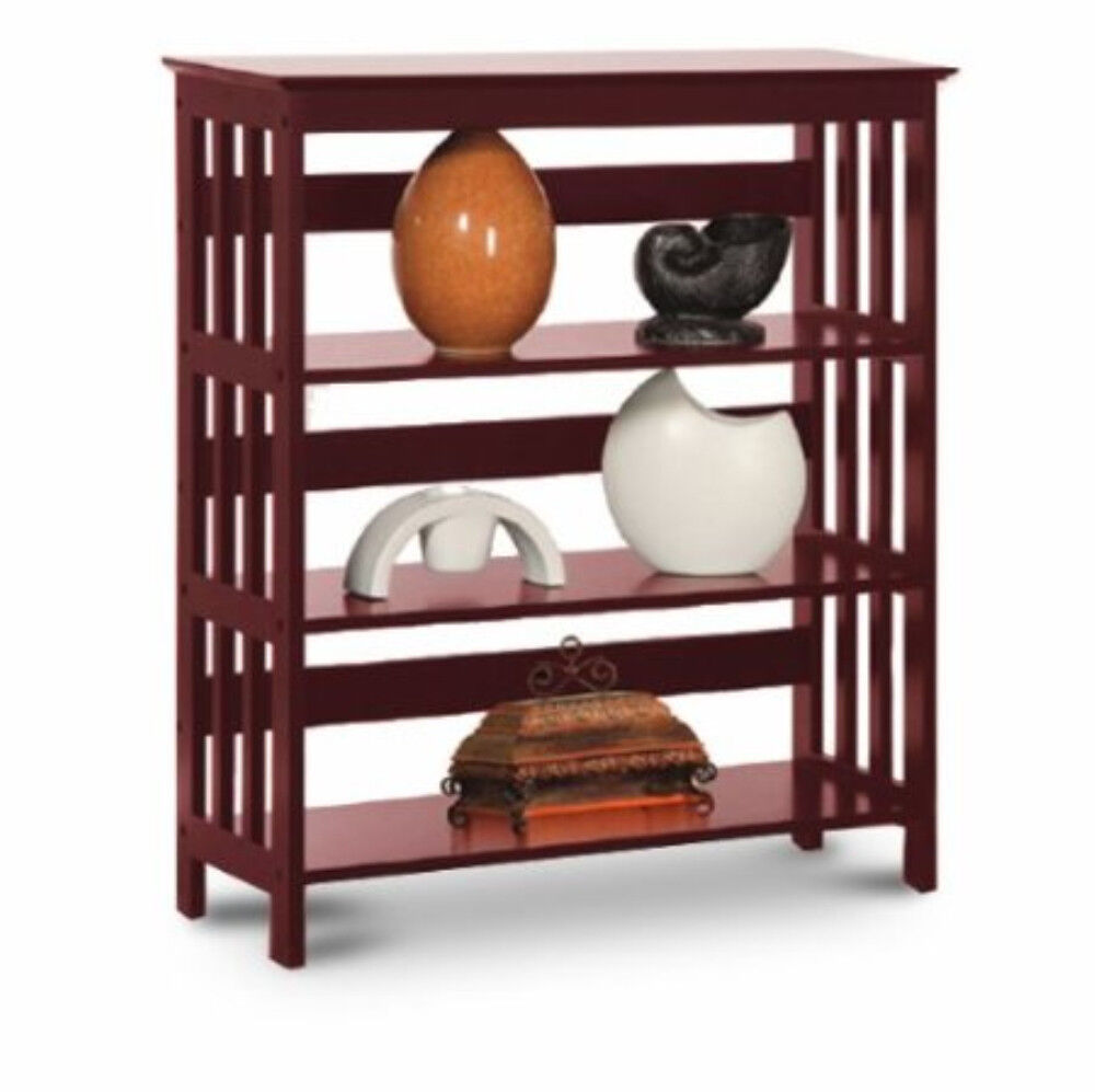 36''HClassic Designed Constructed 3-TIER BOOK SHELF With Cherry Wood Finish-ASDI