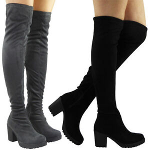 Women-Ladies-Thigh-High-Over-The-Knee-Cleated-Long-Zip-Block-Heel-Boots-Shoes-Sz