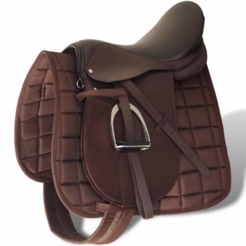 Horse Riding Saddle Set 17,5  Real Leather Brown Blanket Stirrups Belt Girth NEW