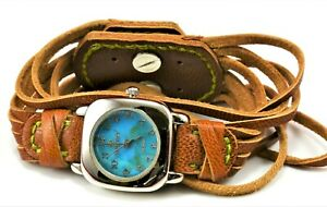 Silpada-Sterling-Silver-925-Torques-Dial-Brown-Leather-Stylish-Band-Watch