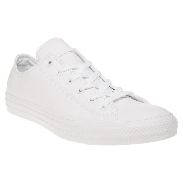 Mens Converse White All Star Ox Leather Sneakers Mono Lace Up