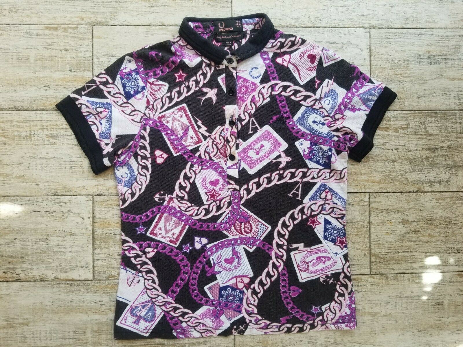 Rare Frot Perry x Amy Winehouse Charm Print Polo Shirt USA 8