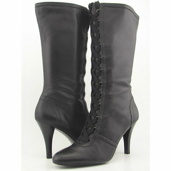 New ALFAN Women Black Leather Knee High High High Heel Winter Lace Up Boot shoes Sz 9 M ce96b4