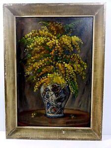 Gold-Florals-Still-Life-Oil-on-Board-Painting-by-B-Ivanovski