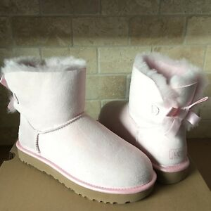66f6267eb47 Details about UGG MINI BAILEY BOW II METALLIC SEASHELL PINK SUEDE BOOTS  SIZE US 10 WOMENS NEW