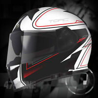 T14 Mako Flat Black Stryker White Motorcycle Bike Dual Visor Full Face Helmet