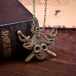 Men-039-s-Black-Stainless-Steel-Pirate-Skull-Cross-Anchor-Gothic-Pendant-Necklace