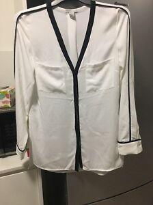 H-amp-M-White-Black-Blouse-Button-Up-Shirt-BNWT