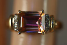10K SOLID YELLOW GOLD 2.33CTW DIAMOND EMERALD MYSTIC TOPAZ RING 10KT SZ 7 2.34G